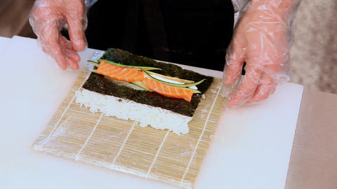 Sushi cooking Footage