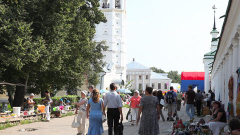 Market on central plaza in Suzdal city Footage