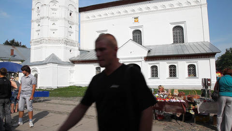 Temple on central plaza in Suzdal city Footage
