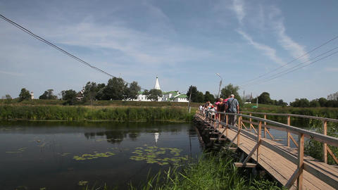Bridge over Kamenka river in Suzdal Footage