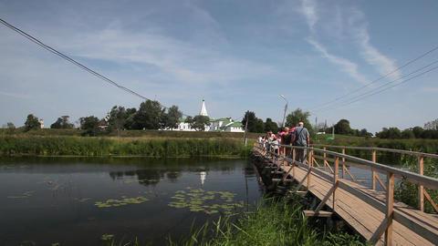 Bridge over Kamenka river in Suzdal Footage