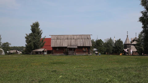 Suzdal city museum of wooden architecture Stock Video Footage