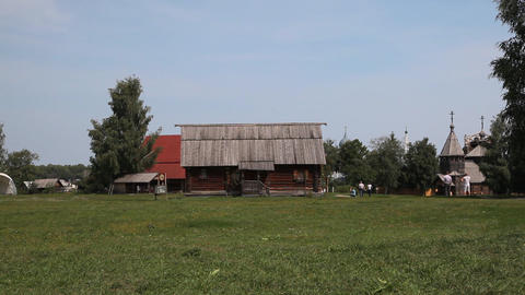 Suzdal city museum of wooden architecture Footage