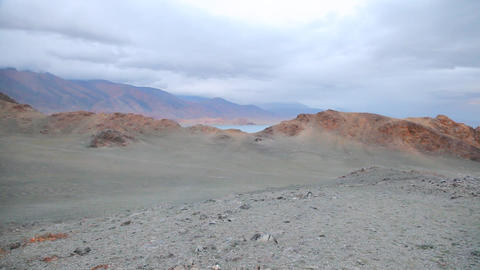 Sunset of mountain Lake Tolbo Nuur Stock Video Footage