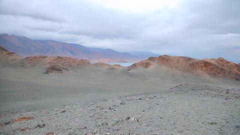 Sunset of mountain Lake Tolbo Nuur Stock Video Footage