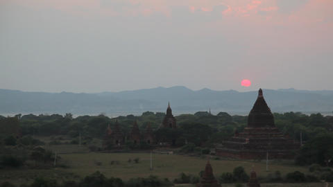Sunset in Bagan timelapse Stock Video Footage