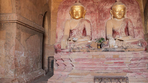 Buddhas inside pagoda in Bagan Stock Video Footage