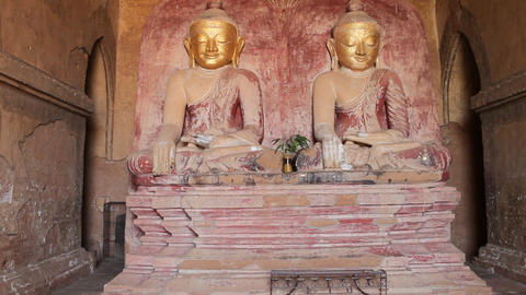 Buddhas inside pagoda in Bagan Footage