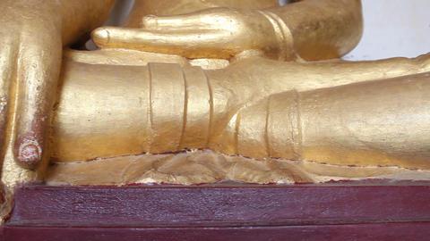 Gold Buddha inside pagoda in Bagan Footage