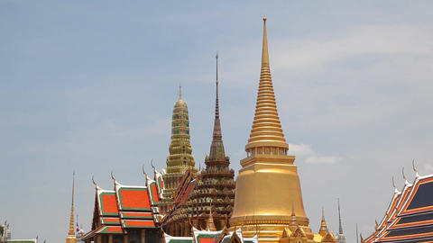 Roof of Grand Palace, Bangkok, Thailand Stock Video Footage