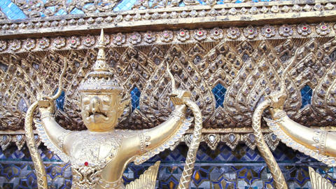 Sculpture of Rakshasa in Temple of the Emerald Buddha Stock Video Footage