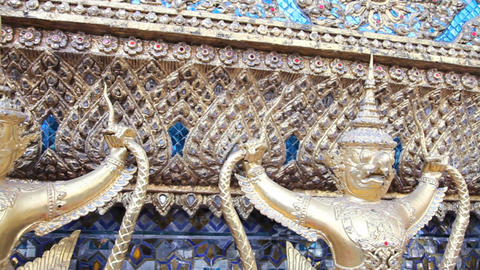 Sculpture Of Rakshasa In Temple Of The Emerald Buddha stock footage