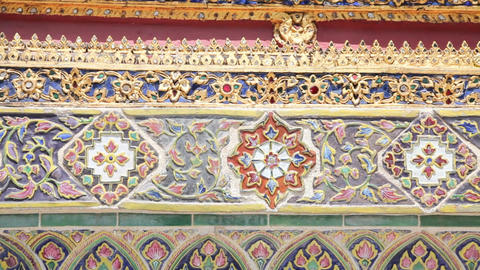 Wall of Temple of the Emerald Buddha Footage