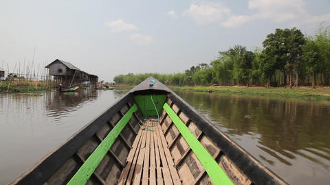 Boats on Inle lake , Myanmar Stock Video Footage
