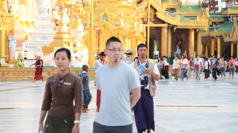Visitors in Shwedagon Pagoda Stock Video Footage