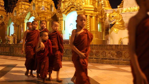 Visitors in Shwedagon Pagoda in the night Footage