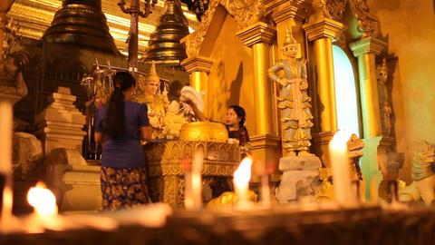 Woman in Shwedagon Pagoda Stock Video Footage