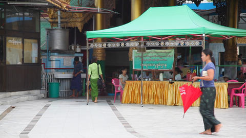 Visitors in Sule Pagoda Footage