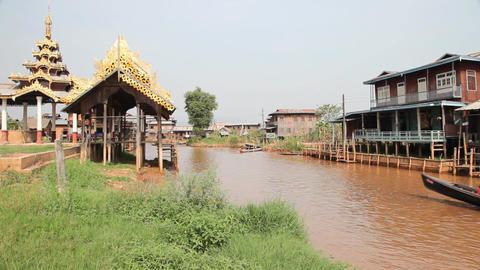 Pagoda on Inle lake, Myanmar Stock Video Footage