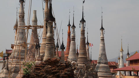 Takhaung Mwetaw Paya pagoda, Inle lake Stock Video Footage