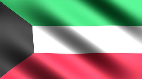 4K Kuwait Flag Stock Video Footage