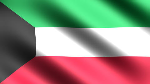 4K Kuwait Flag Stock Video Footage