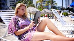 Woman uses iPad Stock Video Footage