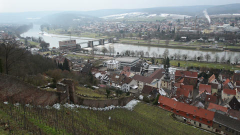 Pan  Shot  Over   Klingenberg  Am   Main     Germany 10936  stock footage