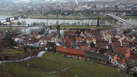 pan shot over Klingenberg am Main Germany 10936 Stock Video Footage