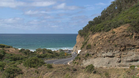 Cars drives at Great Ocean Road Stock Video Footage