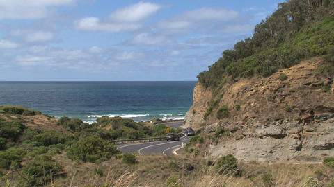 Cars driving down at the Great Ocean Road Footage