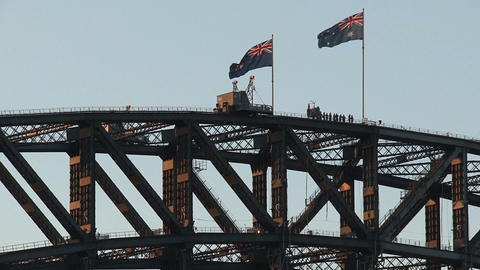 People at the Harbour Bridge Stock Video Footage