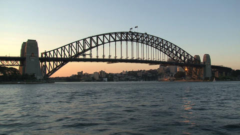 Sunset Sydney Harbor bridge Stock Video Footage