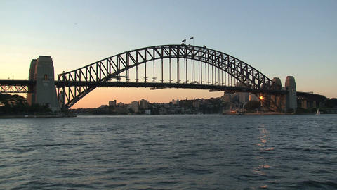Sunset Sydney Harbor bridge Footage
