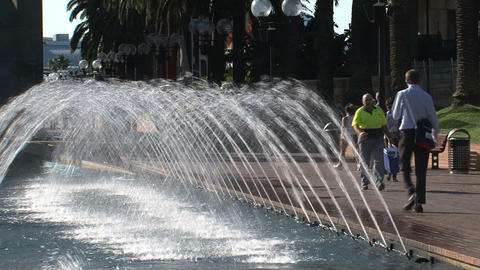 Fountain near Sydney harbor Stock Video Footage