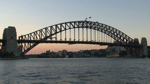 Harbour Bridge sunset, Sydney Stock Video Footage