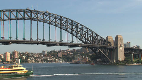 Big ferry arriving in Sydney harbor Stock Video Footage