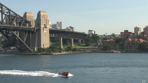 Speadboat in front of the Harbour Bridge Stock Video Footage