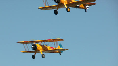 Historic military biplanes boeing stearman flyover Stock Video Footage