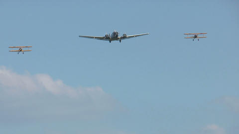 Historic military ju52 and boeing stearman formation flight Stock Video Footage