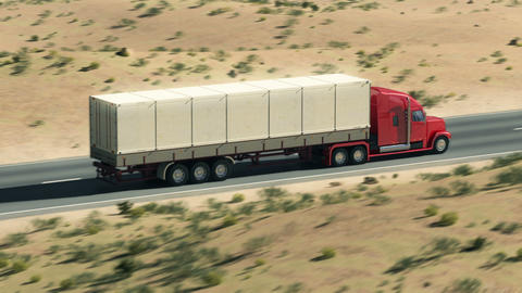 Truck on highway Animation
