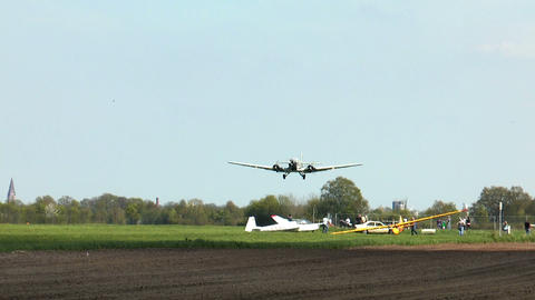 historic airplane ju 52 touch down Stock Video Footage