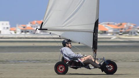 Wind powered vehicles Stock Video Footage