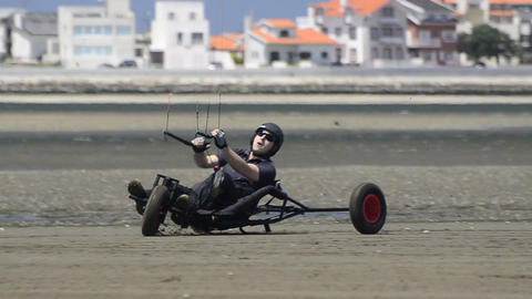 Ricardo Costa on a Kitebuggy Stock Video Footage