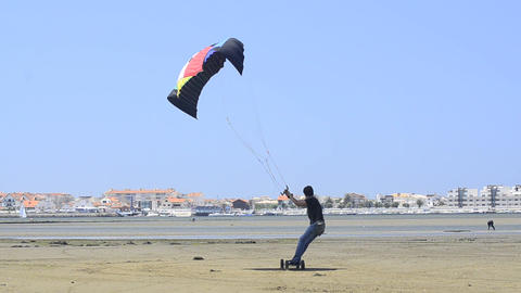 Paulo Azevedo on a landing kite Footage