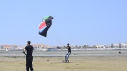 Paulo Azevedo on a landing kite Stock Video Footage
