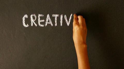 Creativity, Diligence, Success Summation Chalk Drawing Stock Video Footage