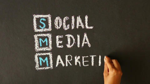 Social Media Marketing Chalk Drawing Stock Video Footage