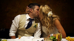 Newlywed Kiss stock footage