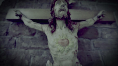 horror scary jesus on the cross 10937 Stock Video Footage
